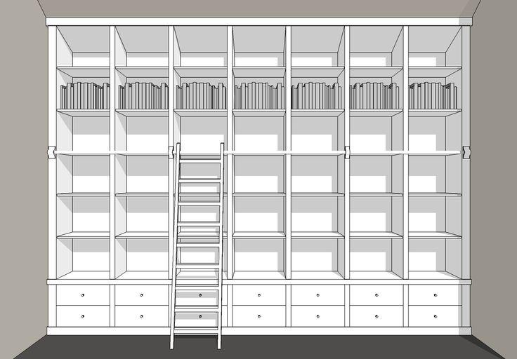 Maatwerk boekenkast met trap wand vullend - Inndoors Meubelen en Interieur