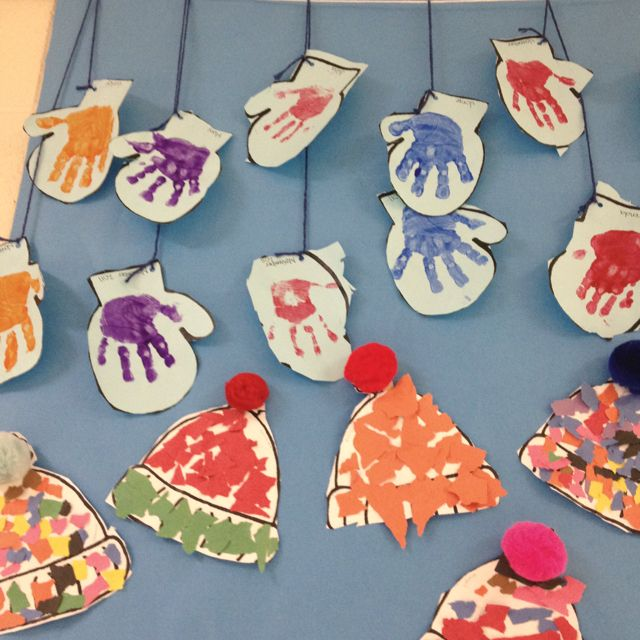 Mittens and hats for winter. Great for cutting and fine motor!!  Def a great activity for preschool :)