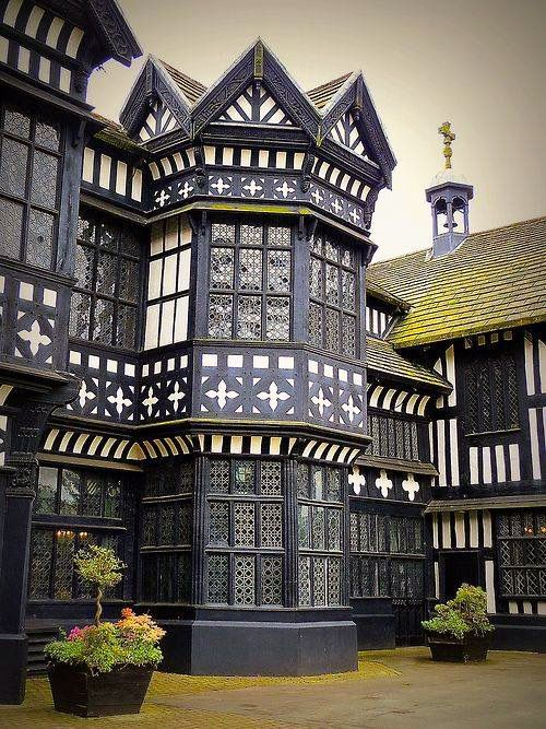 Bramall Hall is a Tudor manor house in Bramhall, within the Metropolitan Borough of Stockport, Greater Manchester, England. It is a timber-framed building, the oldest parts of which date from the 14th century, with later additions from the 16th and 19th centuries.