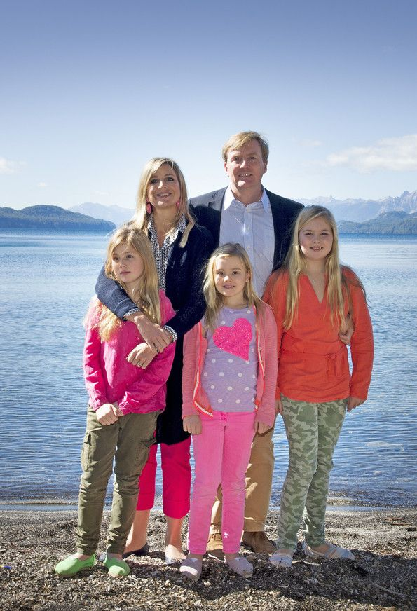 royalwatcher: Dutch Royal Family Christmas Photoshoot, Arrayanes Forest, Bariloche, Argentina, December 22, 2014-Queen Maxima and King Willem-Alexander with Princesses Alexia, Ariane and Amalia