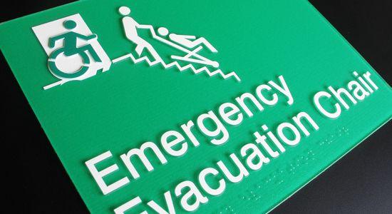 Braille Sign Supplies Evacuation Chair Sign http://braillesignsupplies.com.au/stock-sign-categories/brailleform/egress.html
