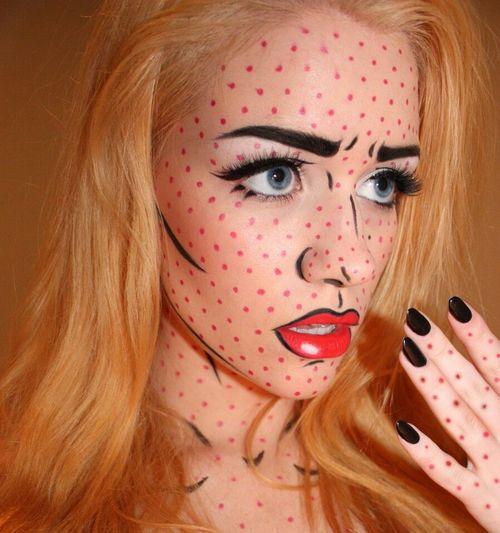 Chicas guapas con Maquillaje para Halloween. - Maquillaje Pop Art para Halloween