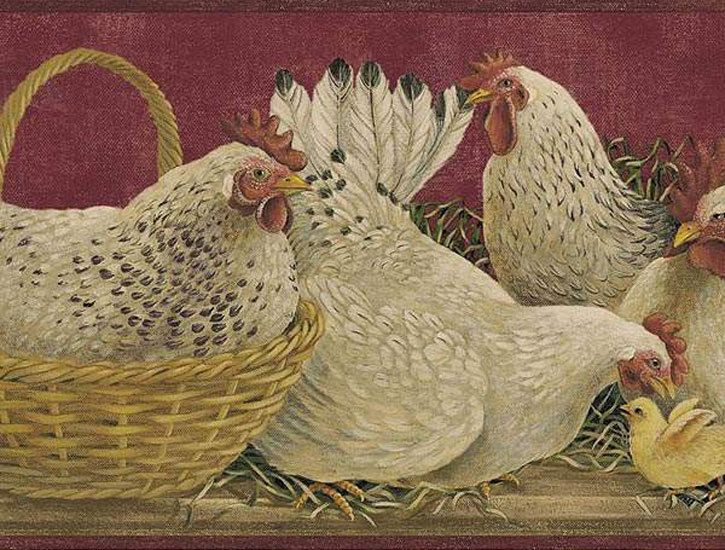 Primitive Rooster Patterns Rooster Burgundy Wallpaper