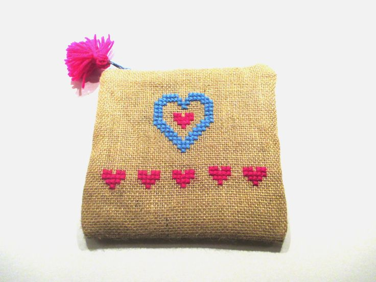 Blue heart burlap pouch bag, cross stitch embroidery ,accessories pouch, handmade pouch, travel accessory by Apopsis on Etsy