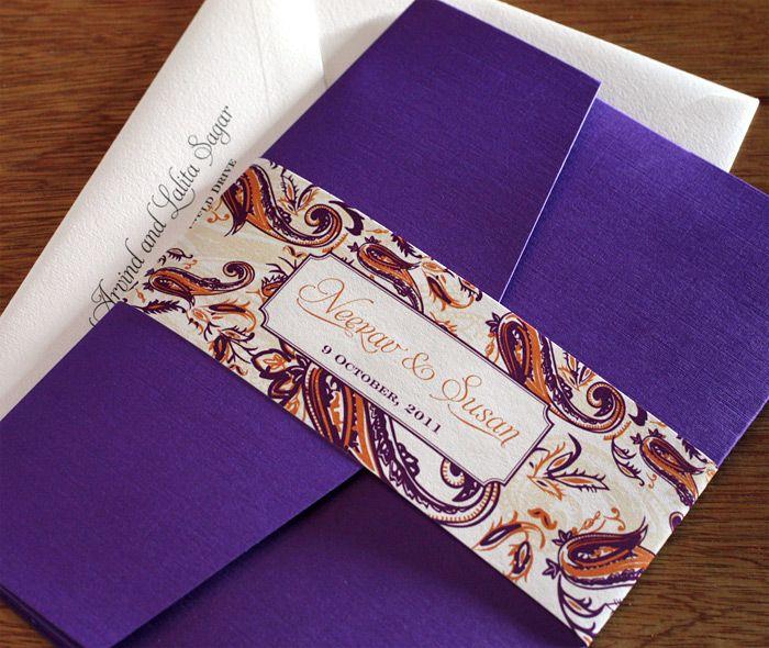 Orange and purple paisley wedding invitation set with customized belly band.  | Invitations by Ajalon | invitationsbyajalon.com