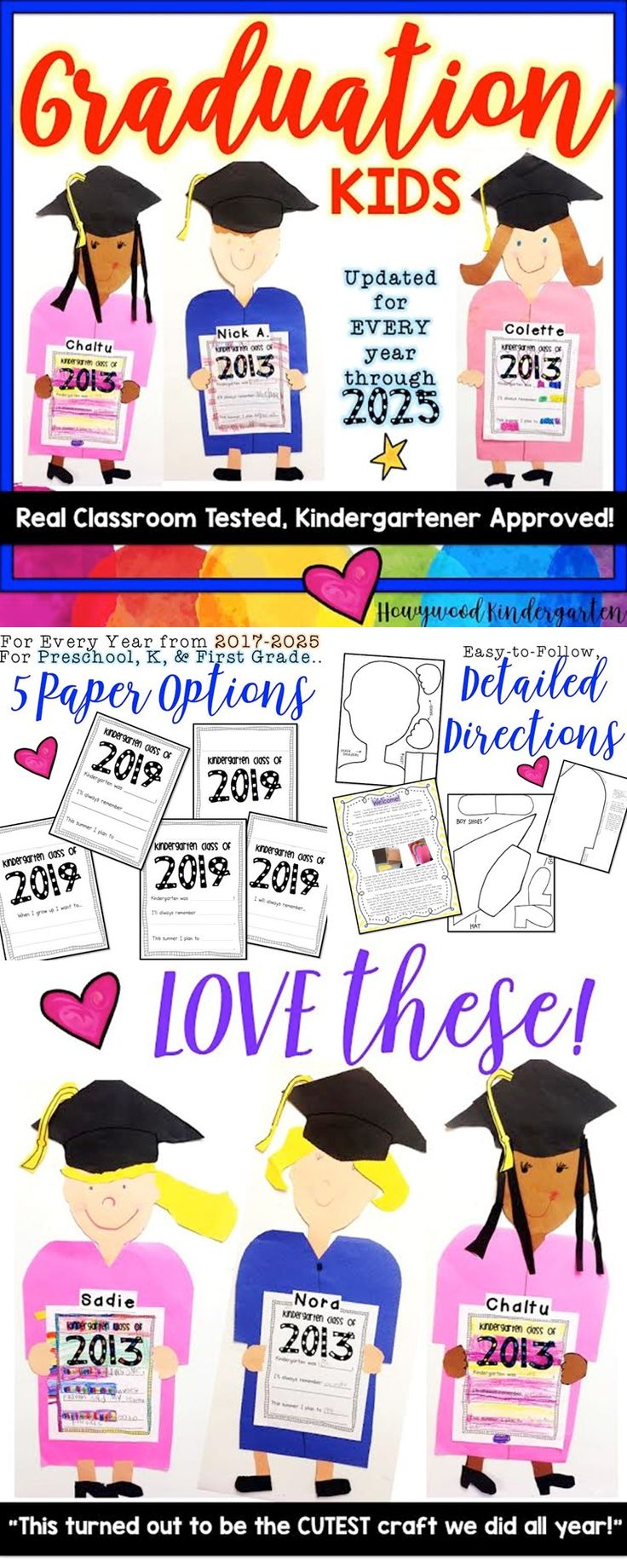 If you're looking for an adorable end of the year project, you need to check this out! These graduation kids make a fabulous project and/or hallway display that will be the perfect addition to your celebration!
