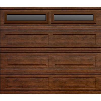 Martin Garage Doors Wood Collection Windriver 8 x 7 ft. Long Panel Walnut Woodgrain Steel Back Insulation Full View Window Clear Garage Door-HDIY-000383 at The Home Depot
