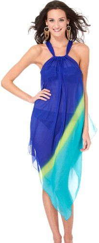 Steve Madden Sheer Ombre Scarf Cover Up Dress BLUE MULTI One Sz   Love yourself