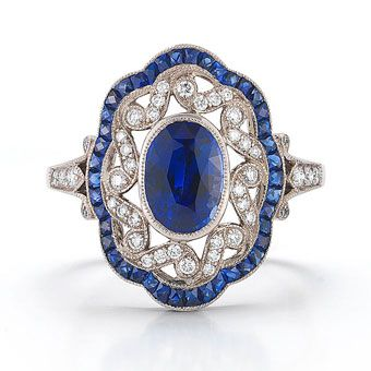 18k white gold Vintage ring with blue sapphires and diamonds, Kwiat, 212-725-7777