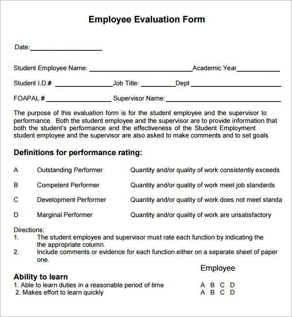 Employee Evaluation Examples Employee Evaluation Form