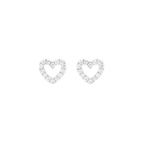 Mini heart studs with white gold 18 k and white diamonds.