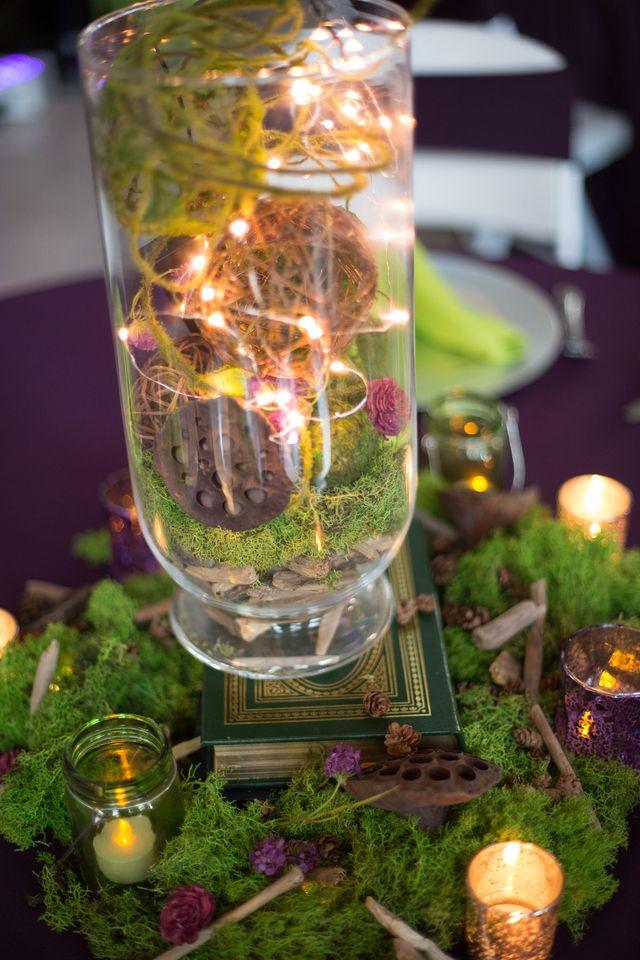 Whimsical, woodland centerpiece. Moss balls, fairy lights ...