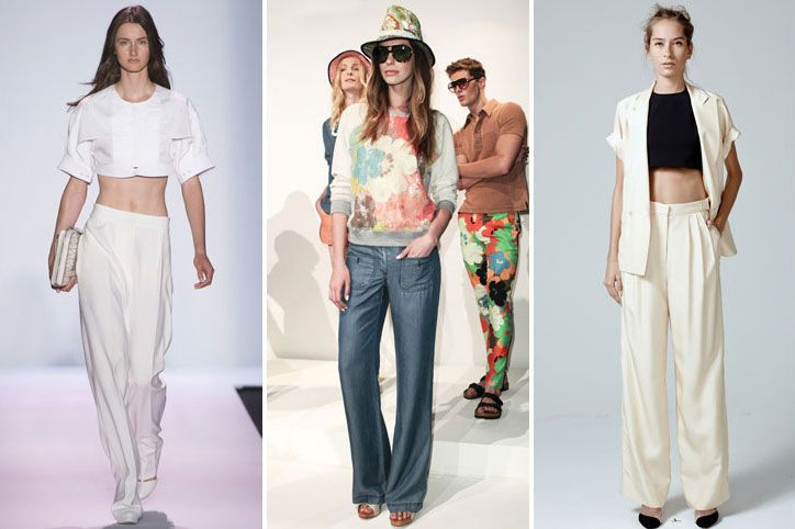 wide leg pants nyfw spring 2014 trend -  Spring 2014 Fashion Trend: Wide-Leg Trousers Easy to wear and ultra-chic, billowy wide-leg trousers made a huge showing on the spring runways. I know what you're thinking...and, no, this trend isn't just for six-foot-tall supermodels, I swear. Just look for a pair that's leaner on the flare and higher-waisted to elongate your frame.