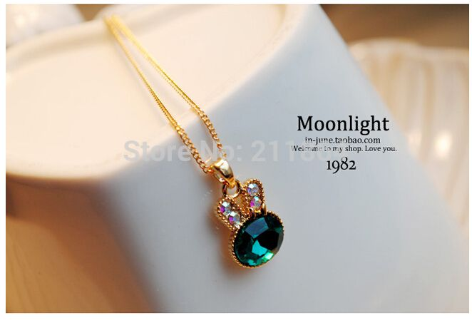 NK155 Fashion Sea Green Rabbit Control Over Drilling Cute Bunny Crystal Clavicle Pendants Necklaces Jewelry