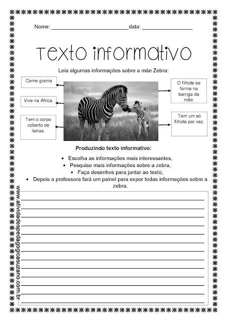 Texto informativo/ produção - Atividades Adriana