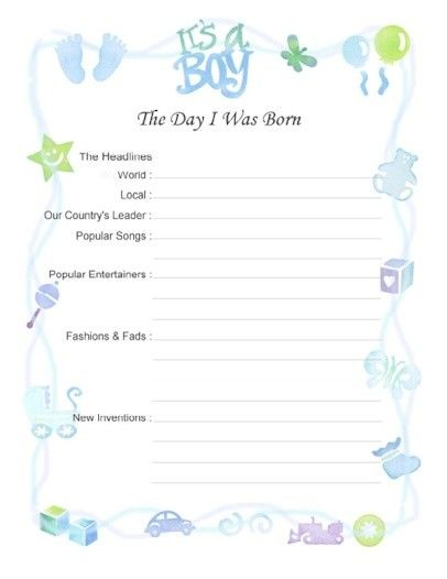 """Free Printable Baby Book Page, """"Day I Was Born (Boy)"""""""