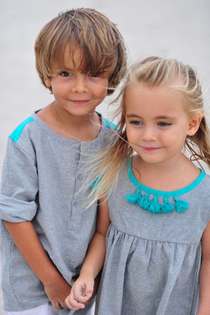 Tyler Tunic and Elie Dress - Gray / Teal http://www.creamcoralcollection.com/Boys-Linen-Tunic-p/70005.htm  http://www.creamcoralcollection.com/Linen-girls-dress-tassels-p/70003.htm