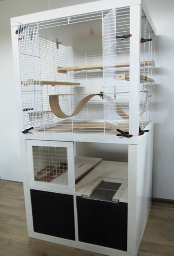 DIY Converted Wooden Chinchilla Cage - I love the bendy wooden ledge.