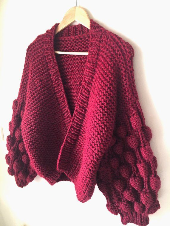 Oversized Knit Cardigan Bubbles cardigan Women Chunky Cardigan Maroon Chunky Knit Cardigan Gift for her Open Style Christmas gifts