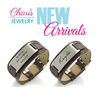 Men's Personalized leather strap bracelets.  Purchase online at www.charisjewelry.co.za