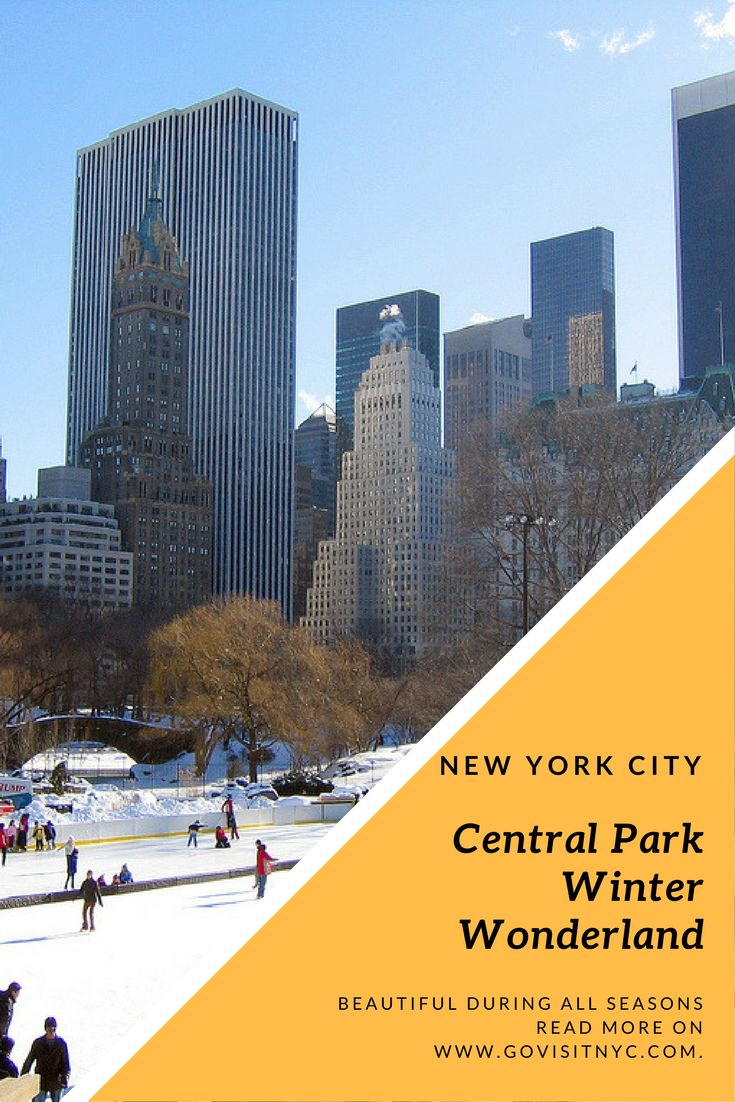 Central Park in NYC is beautiful during all seasons! When the snow falls this place becomes a magical winter wonderland. During the winter months there's an ice skating rink. Warm up after a chilled walk with a warm hot chocolate and a croissant at one of the park's cafes and watch the ducks swim on the lakes. Go Visit NYC!