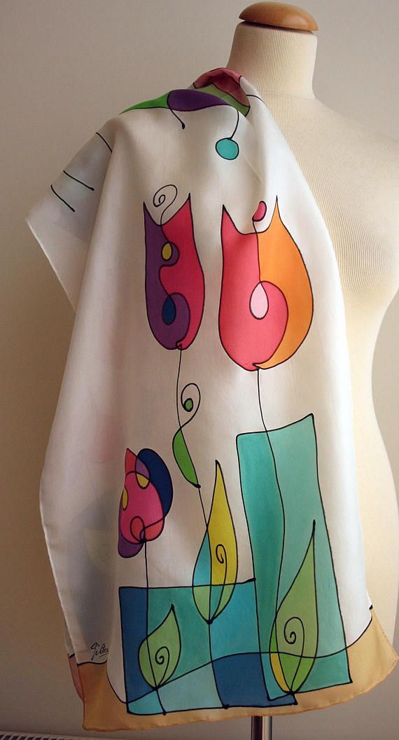 Add some wearable art to your outfit this season! This is a beautiful hand painted silk scarf. This unique design is in some shades of white, blue, green, orange, red, pourple and other colors. This will look great on you with any outfit, perfect for everyday wear or an elegant party or wedding. The item goes with a gift! This is an one-off-a-kind watercolor bookmark showing the first letter of buyers name. Size: width: 140 cm = 55.1 inches height: 45 cm = 18 inches Materials: ...