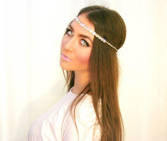 Irridescent Rhinestone Vintage Halo Gypsy Crown- Head Chain f542f58eb27