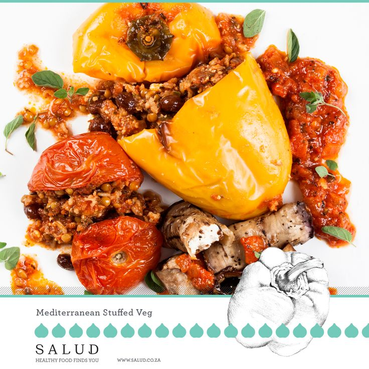 Mediterranean stuffed veg. Healthy prepared take home meals delivered to you.   www.salud.co.za