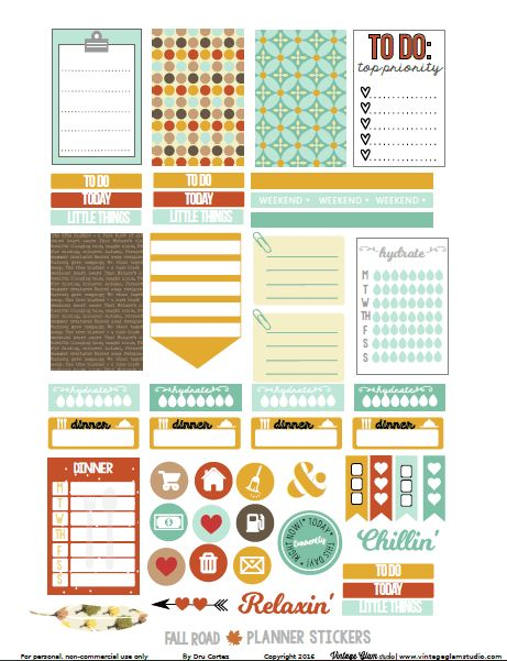 Free Printable Fall Road Planner Stickers {page two} from Vintage Glam Studio