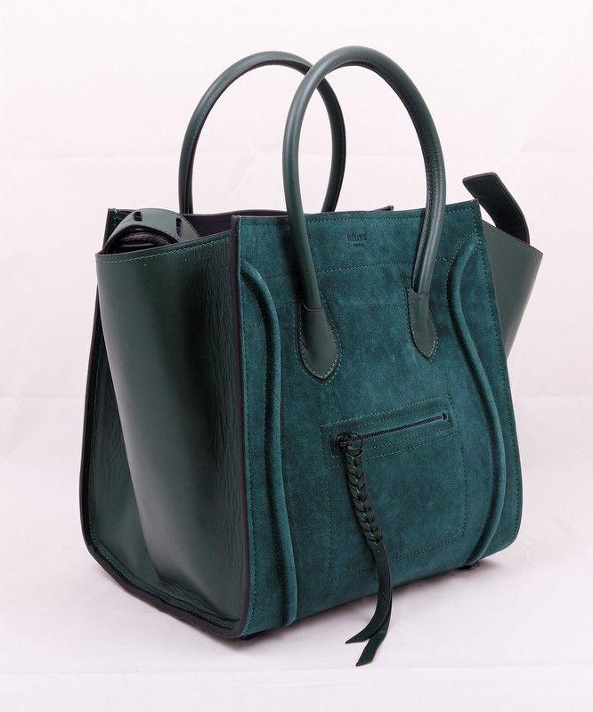 Сумка CELINE Luggage bag зеленая замша