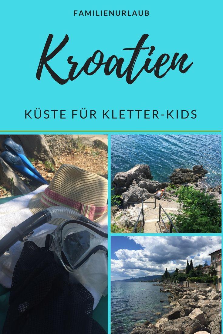 Unseren Familienurlaub in Kroatien verbringen wir in Istrien an der Kvarner Bucht. Die Küste zwischen Lovran und Opatija ist echte Attraktion für Kletter-Kids – und eine Alternative, falls das Wasser im Frühjahr noch ziemlich frisch zum Baden ist. Es gibt runde Kieselsteine in allen erdenklichen Größen, einige Zementsünden und mächtige Felsen.