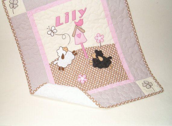 Sheep  Baby Blanket , Crib Quilt Blanket,  Lambie Nursery Bedding, Appliqued  Baby Blanket, Child Decor