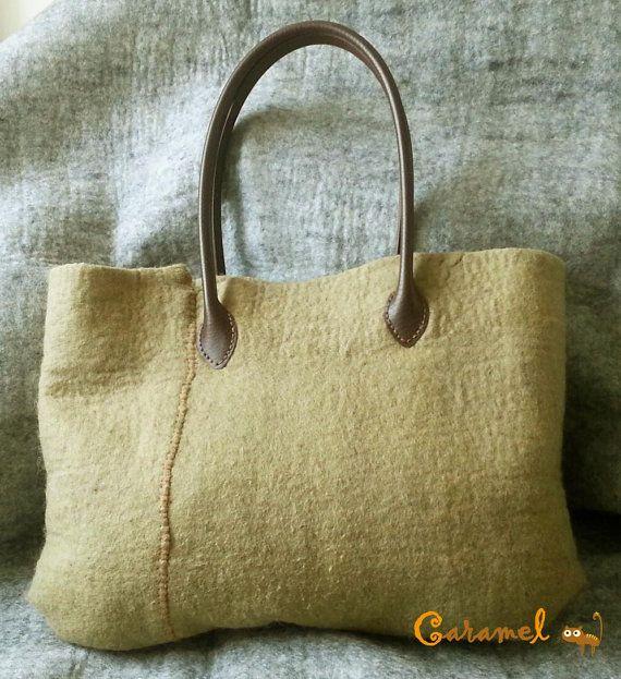 Felted Hanbag Felt Bag Womans Purse Felt Clutch bag by CaramelShop, $77.00