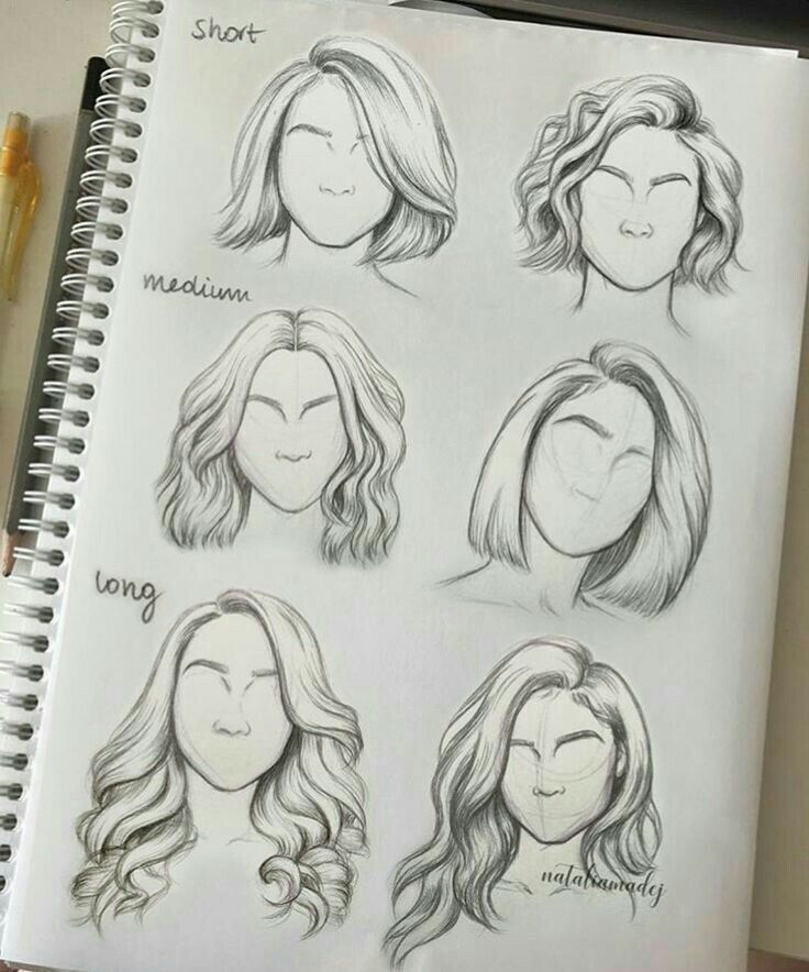 Hair Styles Short Medium Long For Sketching Reference Sketches Drawings Sketch Book
