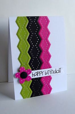 handmade birthday card ... use edge punch with embossing included ... the black row is slightly wider ... like the bright colors for a festive touch ...