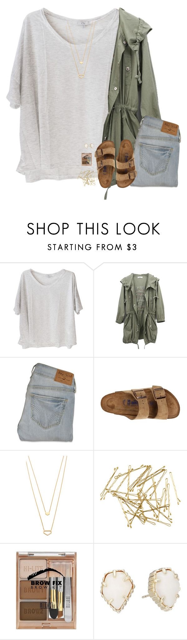 """""""Kind if similar ootd// first xc meet today!"""" by pineappleprincess1012 ❤ liked on Polyvore featuring Clu, Hollister Co., Birkenstock, Gorjana, H&M, Milani and Kendra Scott"""