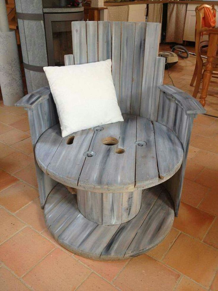 Cable spool chair -- love it!!                                                                                                                                                                                 More
