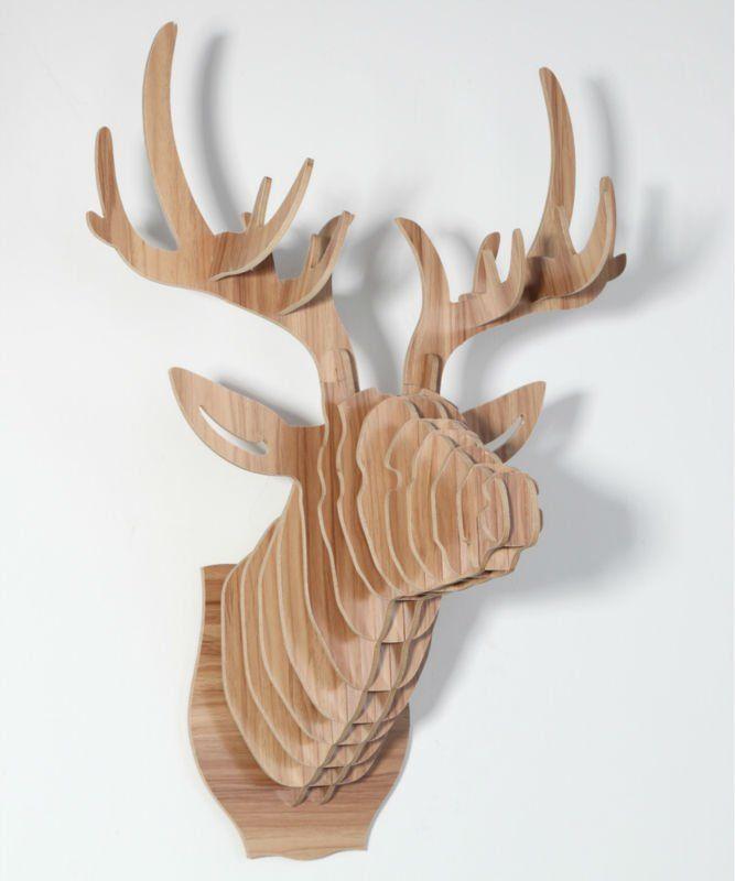 t te de cerf d coration murale bricolage bois d corations d 39 int rieu. Black Bedroom Furniture Sets. Home Design Ideas