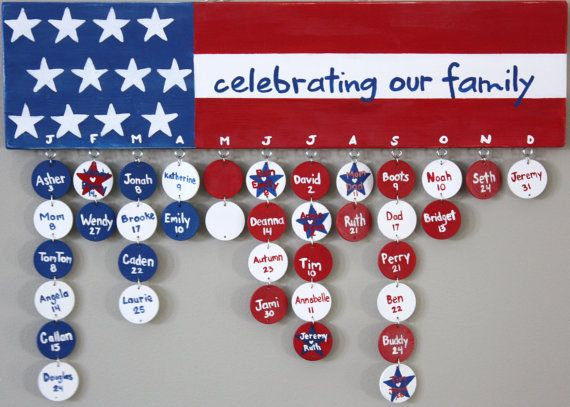 Discs for Custom Personalized Family Birthday Calendar Board Wood Sign