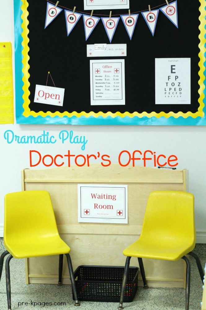 Pretend Doctor Office for Preschool. Printable Props to create a fun and inviting doctor's office theme in your pretend play center!