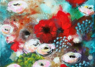 Roses with friends - painting by Malin Östlund