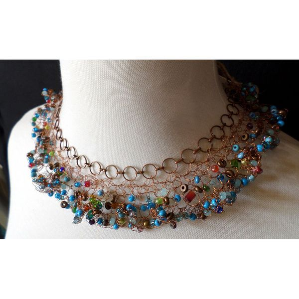 Wave - chain and crocheted wire necklace with colorful beadwork, perfect for daytime $229 by String Theory Designs