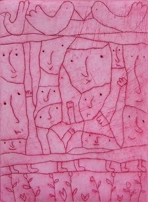 'All shall be well...' (2005) by Australian artist & printmaker Michael Leunig (b.1945). Etching, edition of 125, 30.5 x 22.5 cm. via chrysalis