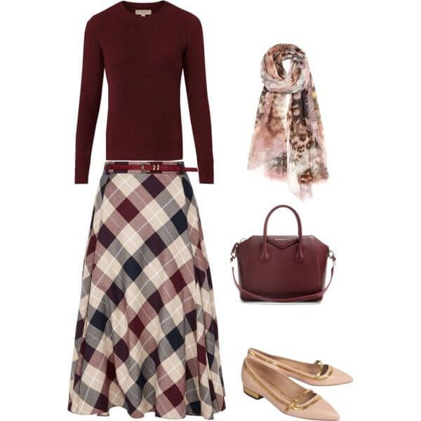 Весенний образ – юбка в клетку, свитер и сумка цвета марсала, балетки и шарф