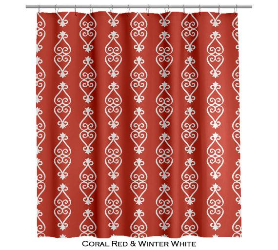 Adinkra African Shower Curtain Red and White - Several Colors Available