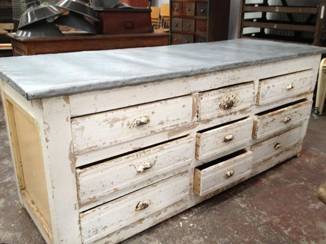 Zinc top distressed wood