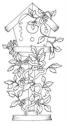 Birdhouse with Vines Free Printable #168 - Site also has color image.