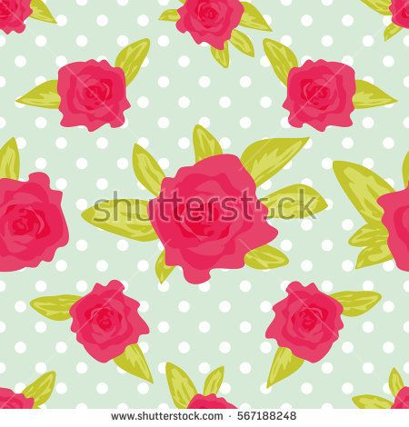 Romantic background with large roses on a green background with white polka dot. Cute vintage floral pattern. Vector illustration Ornament with painted flowers. Template repeating, seamless