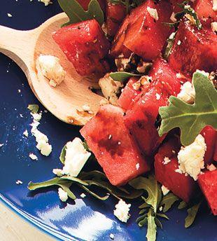 Watermelon, Feta, and Arugula Salad with Balsamic Glaze    http://www.bonappetit.com/recipes/2009/07/watermelon_feta_and_arugula_salad_with_balsamic_glaze