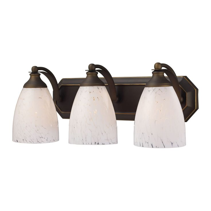 Bath And Spa 3 Light Vanity In Aged Bronze And Snow White Glass 570-3B-SW